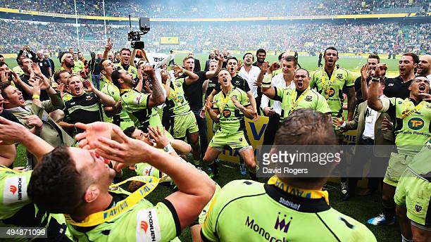 Northampton Saints celebrate by doing the haka after winning the Aviva Premiership Final between Saracens and Northampton Saints at Twickenham...