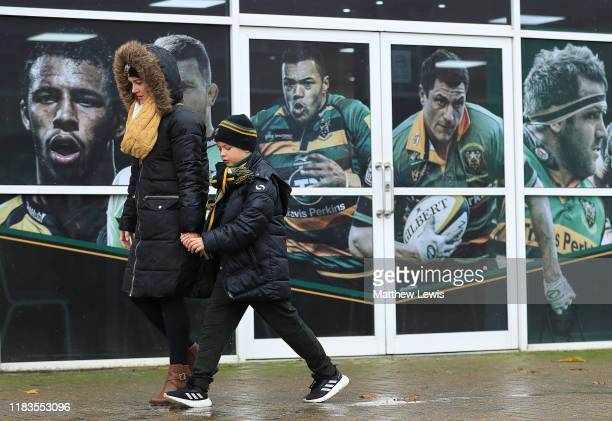 Northampton Saints fans look on ahead of the Gallagher Premiership Rugby match between Northampton Saints and Worcester Warriors at Franklins Gardens...