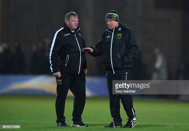 Northampton Saints Forwards Coach Dorian West talks to Northampton Saints Director of Rugby Alan Gaffney during the European Rugby Champions Cup...