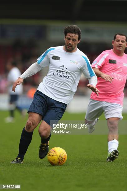 Northampton Saints Rugby player Ben Foden in action during a Celebrity Charity Match at Sixfields on April 15 2018 in Northampton England