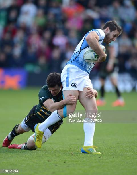 Northampton Saints' Vasily Artemyev tackles Glasgow Warriors' Tommy Seymour