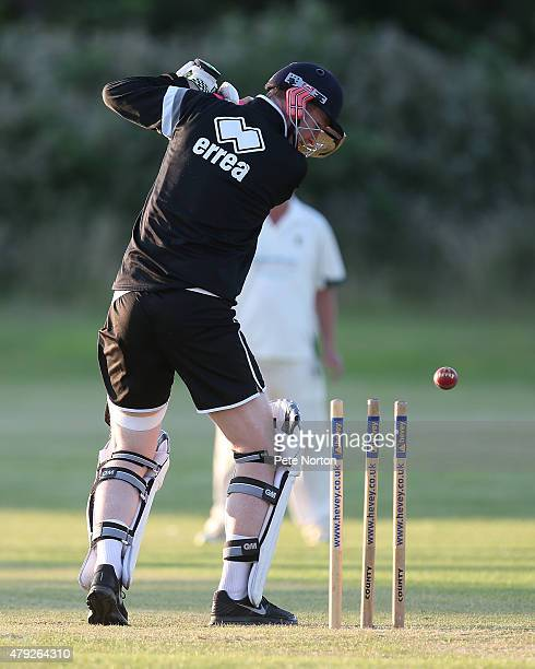Northampton Town assistant manager Alan Knill looks on as he is bowled during a 20/20 Cricket Match between Bold Dragoon CC and Northampton Town FC...