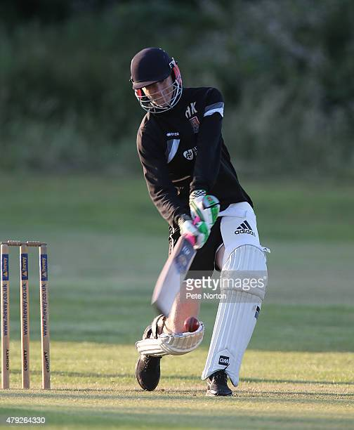 Northampton Town assistant manager Alan Knill plays a shot during a 20/20 Cricket Match between Bold Dragoon CC and Northampton Town FC in aid of the...