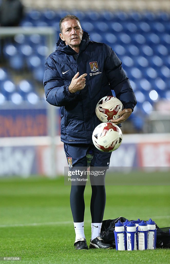 Northampton Town assistant manager Paul Wilkinson during the pre match warm up prior to the Sky Bet League One match between Peterborough United and Northampton Town at ABAX Stadium on October 18, 2016 in Peterborough, England.