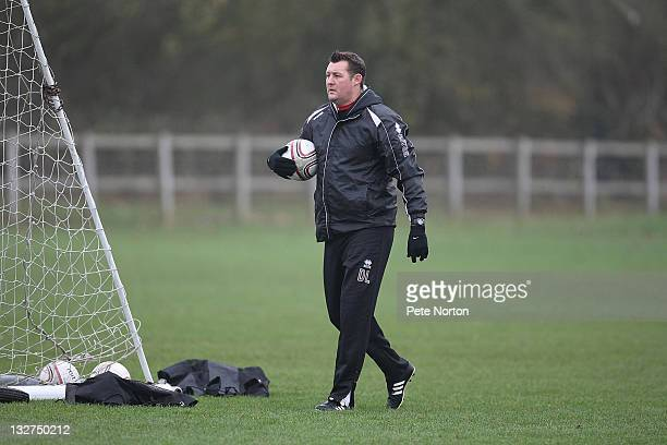 Northampton Town caretaker manager David Lee looks on during a training session at Moulton College on November 14, 2011 in Northampton, England.