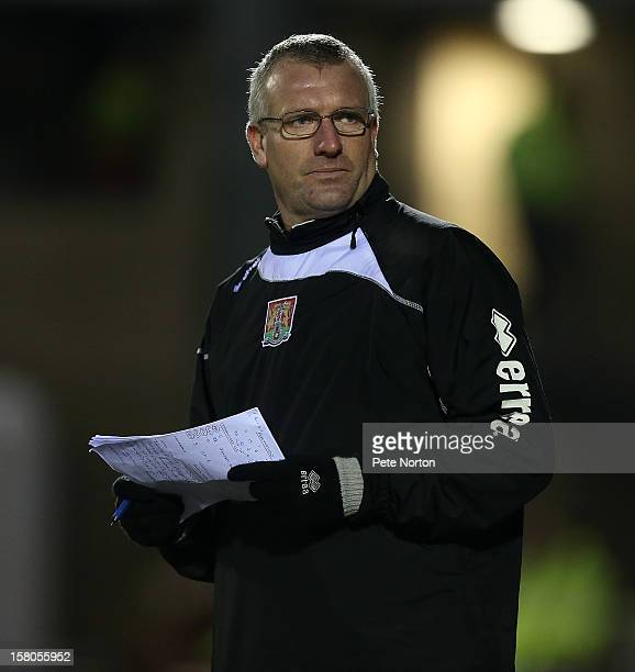 Northampton Town coach Tim Flowers looks on during the npower League Two match between Northampton Town and Cheltenham Town at Sixfields Stadium on...