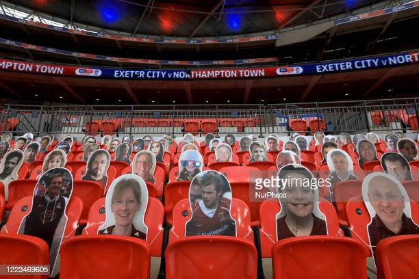 Northampton Town fans card board cut outs during the Sky Bet League 2 Play-Off Final match between Exeter City and Northampton Town at Wembley...