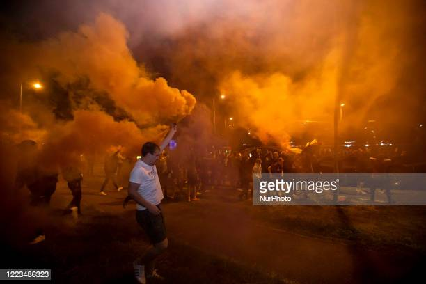 Northampton Town fans celebrate their teams victory outside of the PTS Stadium after the Sky Bet League 2 PlayOff Final match between Exeter City and...