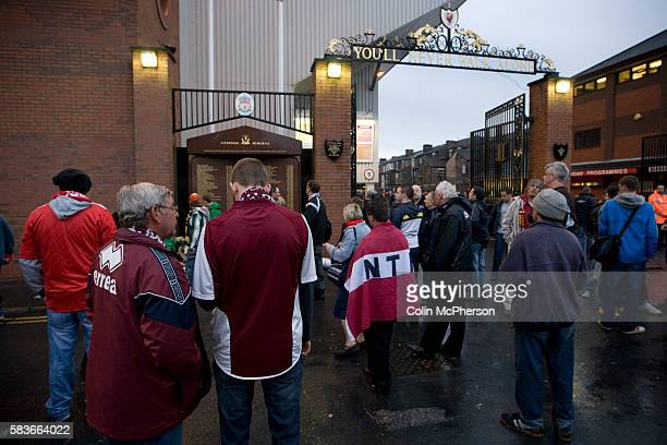 Northampton Town fans gathering outside the Shankly Gates at Anfield before their team's Carling Cup third round tie away to Liverpool The visitors...