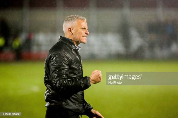 Northampton Town FC manager Keith Curle celebrates following the final whistle during the Sky Bet League 2 match between Salford City and Northampton...