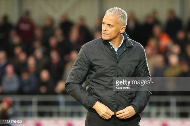 Northampton Town FC manager Keith Curle during the Sky Bet League 2 match between Salford City and Northampton Town at Moor Lane Salford on Saturday...
