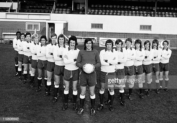 Northampton Town Football Team at the County Ground in Northampton February 1975 Leftright Derrick Christie Barry Tucker Malcolm John Alan Oman Paul...