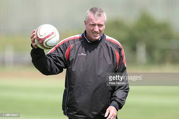 Northampton Town goalkeeper coach Tim Flowers in action during a training session at Sixfields Stadium on July 11 2011 in Northampton England