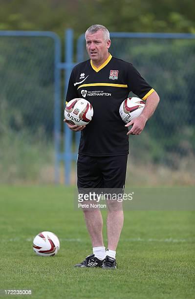 Northampton Town goalkeeper coach Tim Flowers looks on during a preseason training session on July 1 2013 in Novigrad Croatia