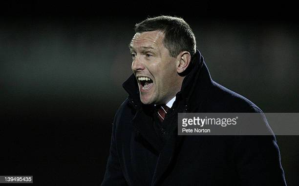 Northampton Town manager Aidy Boothroyd shouts intructions during the npower League Two match between Northampton Town and Macclesfield Town at...