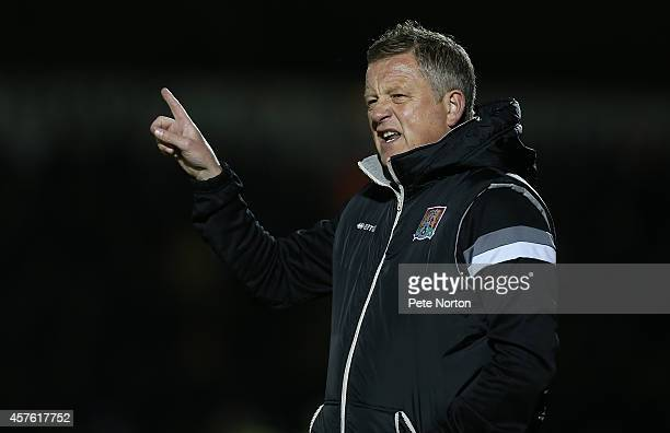 Northampton Town manager Chris Wilder gives instructions during the Sky Bet League Two match between Northampton Town and Oxford United at Sixfields...