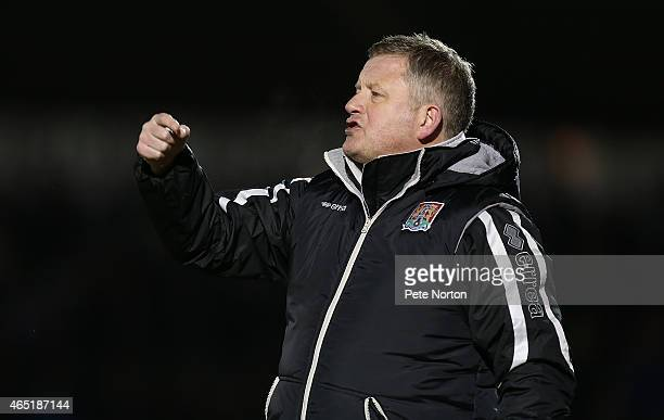 Northampton Town manager Chris Wilder gives instructions during the Sky Bet League Two match between Northampton Town and Portsmouth at Sixfields...
