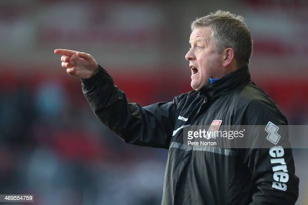 Northampton Town manager Chris Wilder gives instructions during the Sky Bet League Two match between Fleetwood Town and Northampton Town at Highbury...