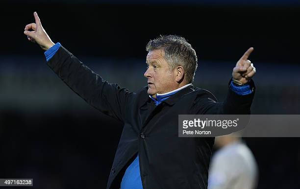 Northampton Town manager Chris Wilder gives instructions during the Sky Bet League Two match between Northampton Town and Mansfield Town at Sixfields...