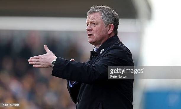 Northampton Town manager Chris Wilder gives instructions during the Sky Bet League Two match between Northampton Town and Cambridge United at...