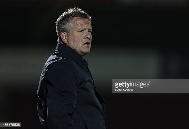 Northampton Town manager Chris Wilder looks on during the Johnstone's Paint Trophy match between Northampton Town and Colchester United at Sixfields...