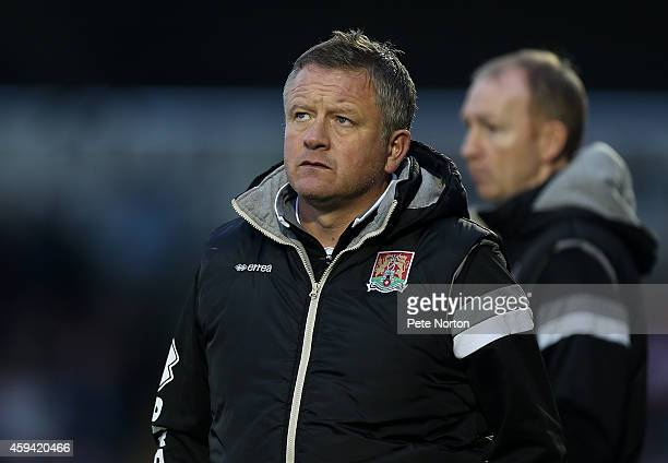 Northampton Town manager Chris Wilder looks on during the Sky Bet League Two match between Northampton Town and Stevenage at Sixfields Stadium on...