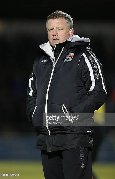 Northampton Town manager Chris Wilder looks on during the Sky Bet League Two match between Northampton Town and Portsmouth at Sixfields Stadium on...