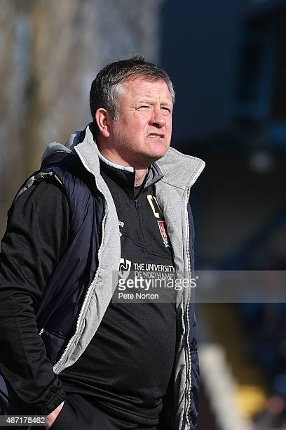 Northampton Town manager Chris Wilder looks on during the Sky Bet League Two match between Bury and Northampton Town at The JD Stadium on March 21...
