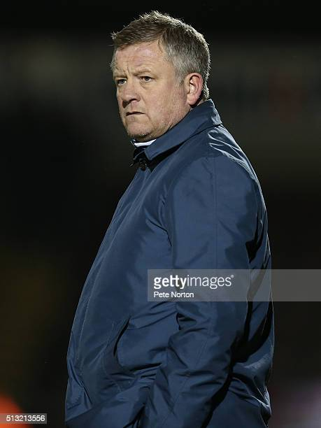 Northampton Town manager Chris Wilder looks on during the Sky Bet League Two match between Northampton Town and AFC Wimbledon at Sixfields Stadium on...
