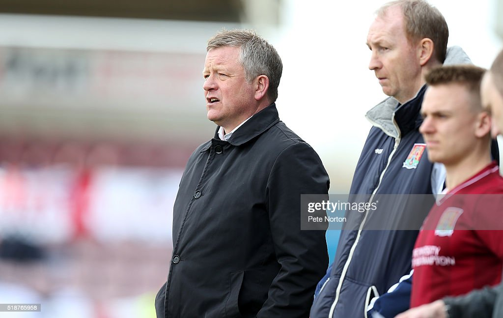 Northampton Town manager Chris Wilder looks on during the Sky Bet League Two match between Northampton Town and Notts County at Sixfields Stadium on April 2, 2016 in Northampton, England.