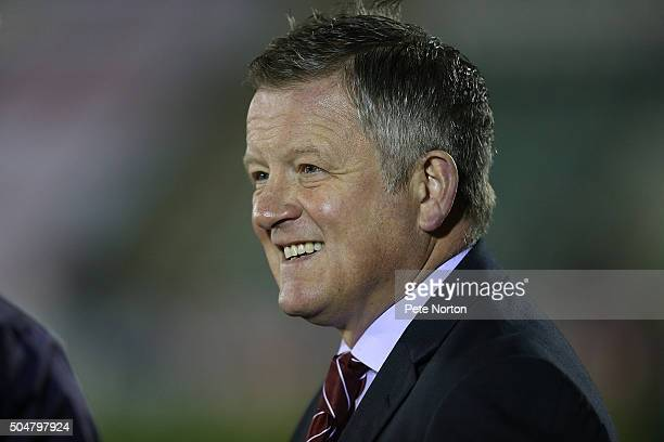 Northampton Town manager Chris Wilder looks on prior to the Sky Bet League Two match between Plymouth Argyle and Northampton Town at Home Park on...