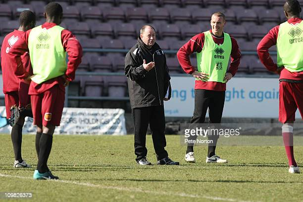 Northampton Town manager Gary Johnson gives instructions to his players during a Northampton Town Training session at Sixfields Stadium on March 7...