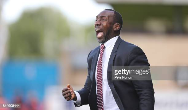 Northampton Town manager Jimmy Floyd Hasselbaink during the Sky Bet League One match between Northampton Town and Doncaster Rovers at Sixfields on...