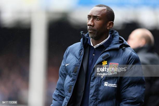 Northampton Town manager Jimmy Floyd Hasselbaink during the Sky Bet League One match between Peterborough United and Northampton Town at ABAX Stadium...