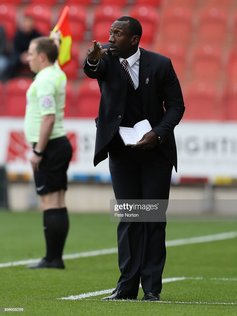 Northampton Town manager Jimmy Floyd Hasselbaink gives instructions during the Sky Bet League One match between Rotherham United and Northampton Town at The Aesseal New York Stadium on September 30, 2017 in Rotherham, England.