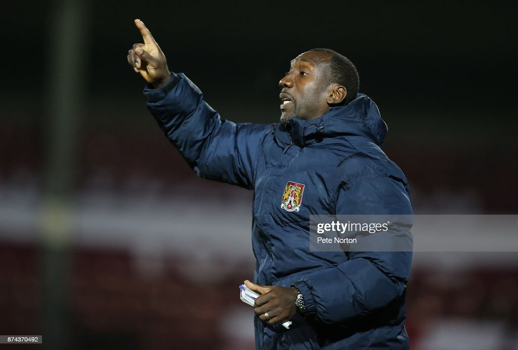 Northampton Town manager Jimmy Floyd Hasselbaink gives instuctions during the Emirates FA Cup First Round Replay match between Scunthorpe United and Northampton Town at Glanford Park on November 14, 2017 in Scunthorpe, England.