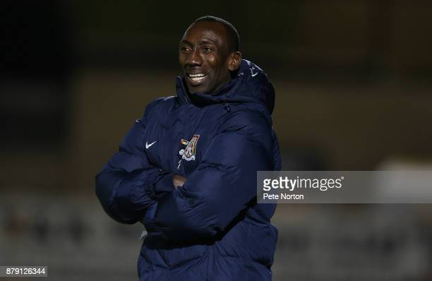 Northampton Town manager Jimmy Floyd Hasselbaink looks on during the Sky Bet League One match between Northampton Town and Bury at Sixfields on...
