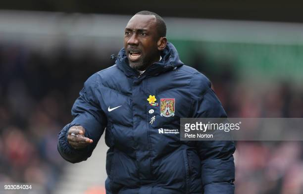 Northampton Town manager Jimmy Floyd Hasselbaink looks on during the Sky Bet League One match between Northampton Town and Rotherham United at...
