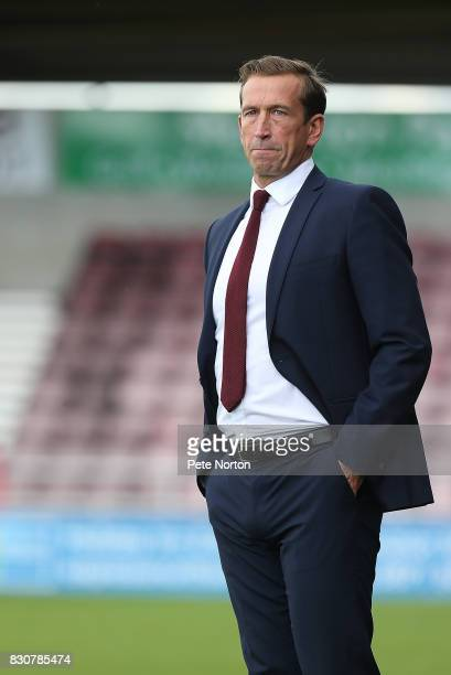 Northampton Town manager Justin Edinburgh looks on during the Sky Bet League One match between Northampton Town and Fleetwood Town at Sixfields on...