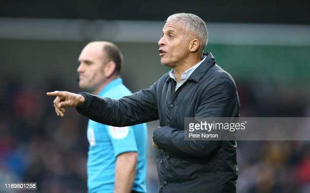 Northampton Town manager Keith Curle looks on during the Sky Bet League Two match between Northampton Town and Grimsby Town at PTS Academy Stadium on...