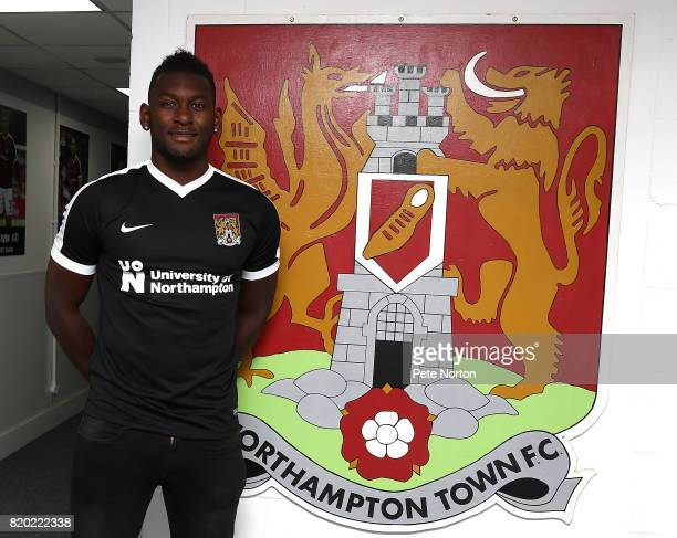 Northampton Town new signing Aaron pierre poses during a photo call at Sixfields on July 21 2017 in Northampton England
