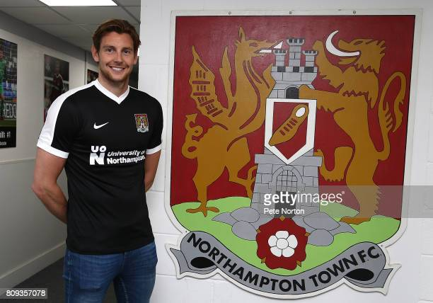 Northampton Town new signing Ash Taylor poses during a photo call at Sixfields on July 5 2017 in Northampton England