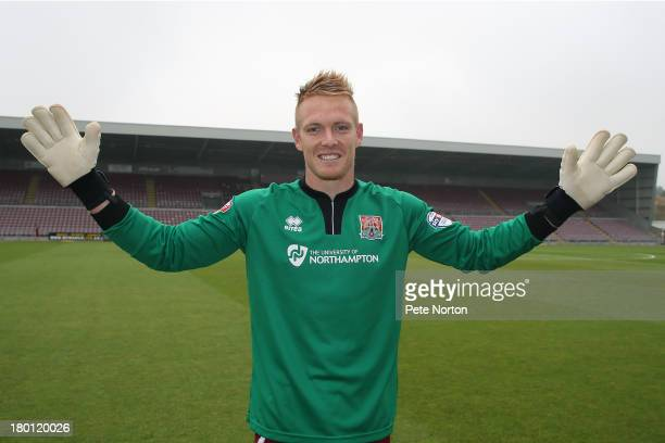 Northampton Town new signing Australian goalkeeper Ben McNamara poses during a photo call held at Sixfields on September 5 2013 in Northampton England