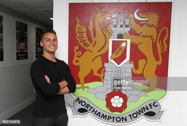 Northampton Town New Signing Billy Waters poses during a photo call at Sixfields on June 8 2017 in Northampton England