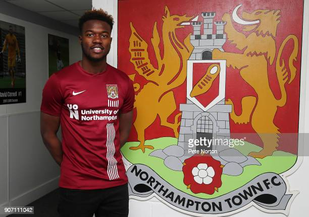 Northampton Town new signing Gboly Ariyibi poses during a photo call at Sixfields on January 19 2018 in Northampton England