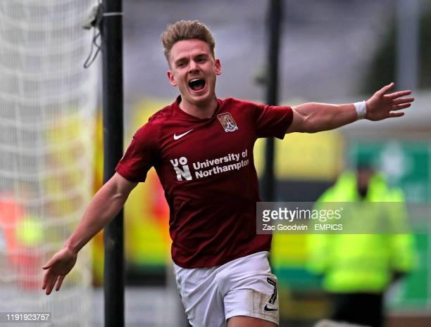 Northampton Town's Sam Hoskins celebrates scoring his side's third goal of the game Burton Albion v Northampton Town FA Cup Third Round Pirelli...