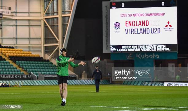Northampton , United Kingdom - 21 February 2020; Andrew Smith of Ireland prior to the Six Nations U20 Rugby Championship match between England and...