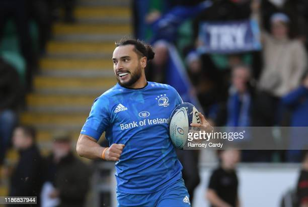 Northampton , United Kingdom - 7 December 2019; James Lowe of Leinster on his way to scoring his side's first try during the Heineken Champions Cup...