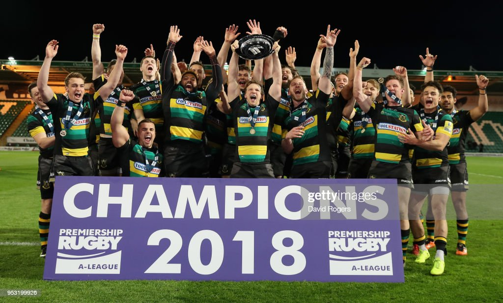 Northampton Wanderers celebrate their victory during the Aviva A League Final between Northampton Wanderers and Exeter Braves at Franklin's Gardens on April 30, 2018 in Northampton, England.