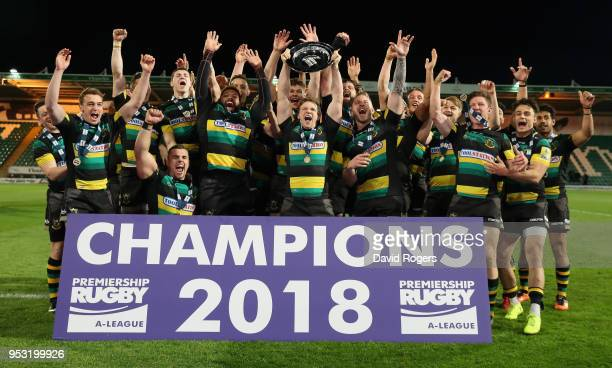 Northampton Wanderers celebrate their victory during the Aviva A League Final between Northampton Wanderers and Exeter Braves at Franklin's Gardens...